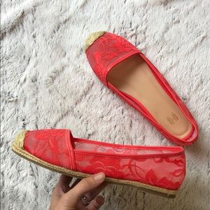 Never worn Pink lace flat shoes